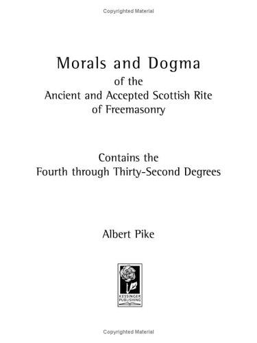 Download Morals And Dogma Of The Ancient And Accepted Scottish Rite of Freemasonry
