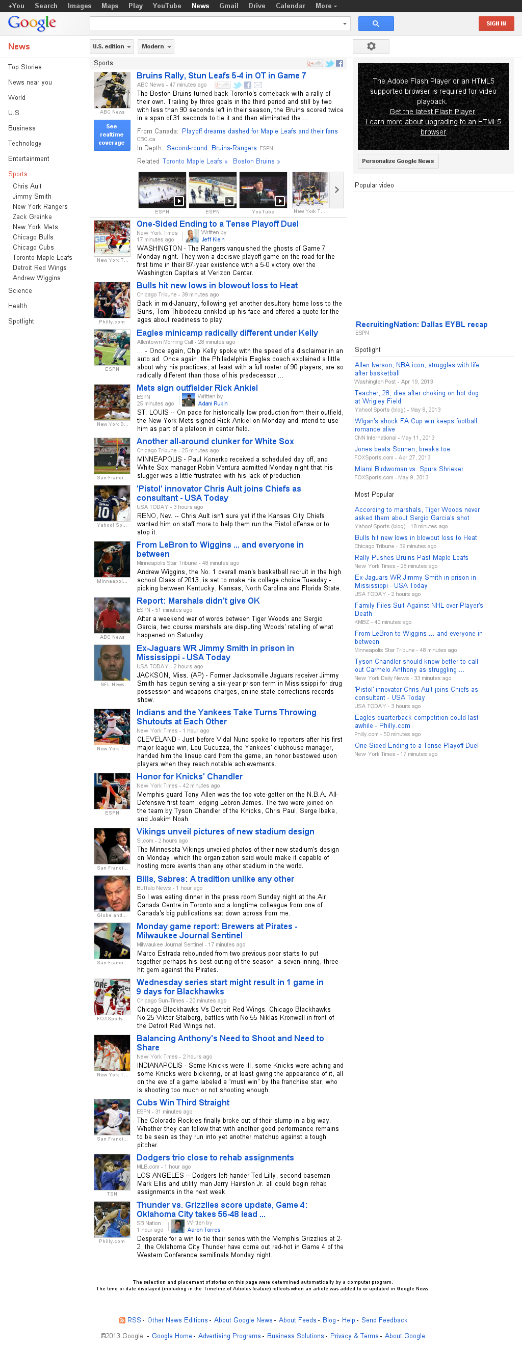 Google News: Sports at Tuesday May 14, 2013, 4:09 a.m. UTC