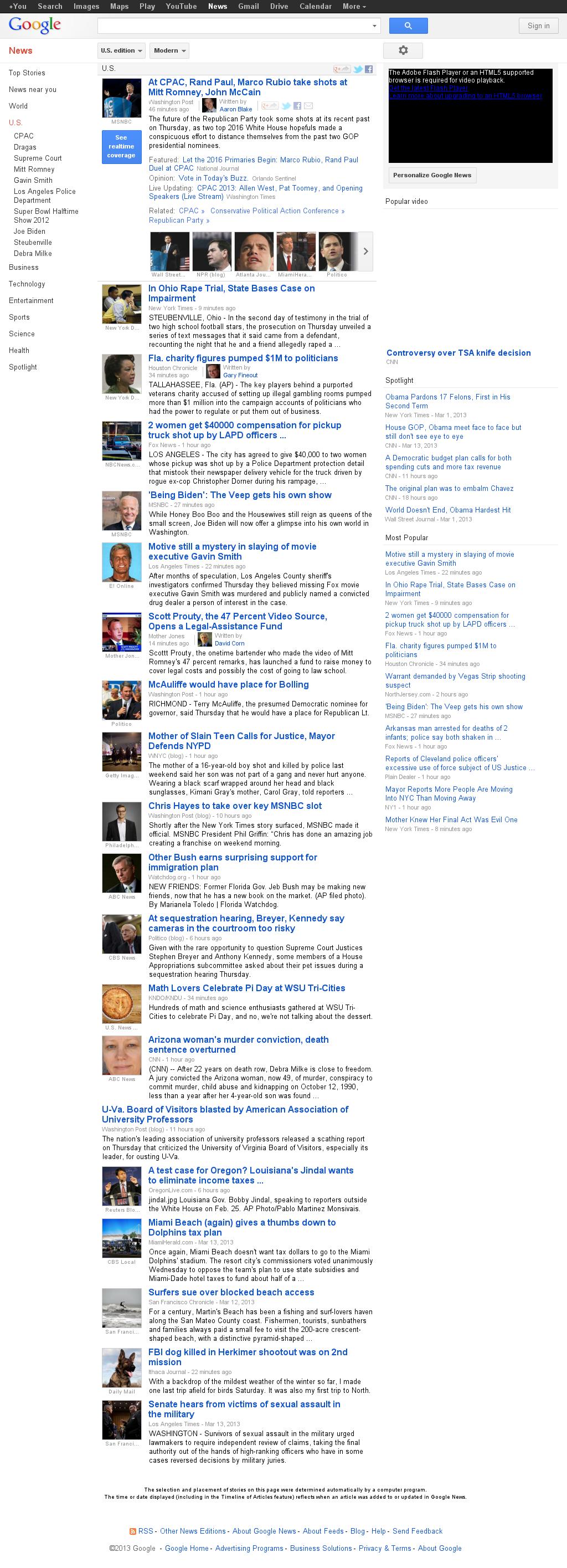 Google News: U.S. at Friday March 15, 2013, 1:10 a.m. UTC