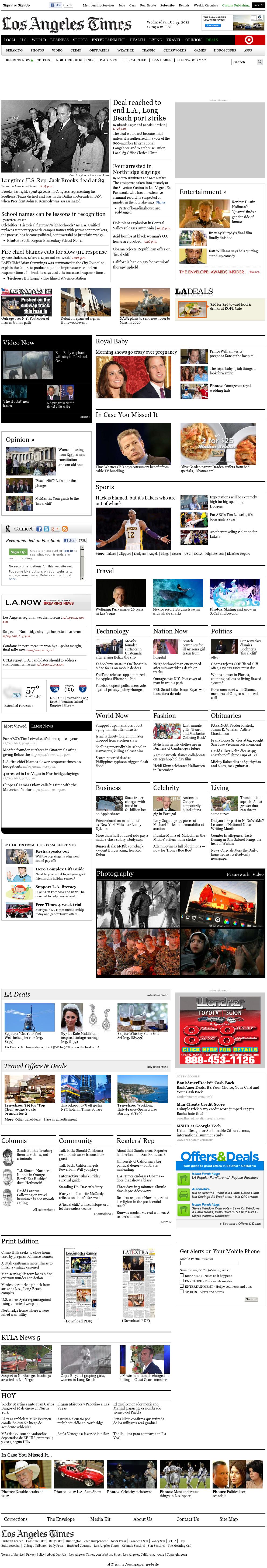 Los Angeles Times at Wednesday Dec. 5, 2012, 8:17 a.m. UTC