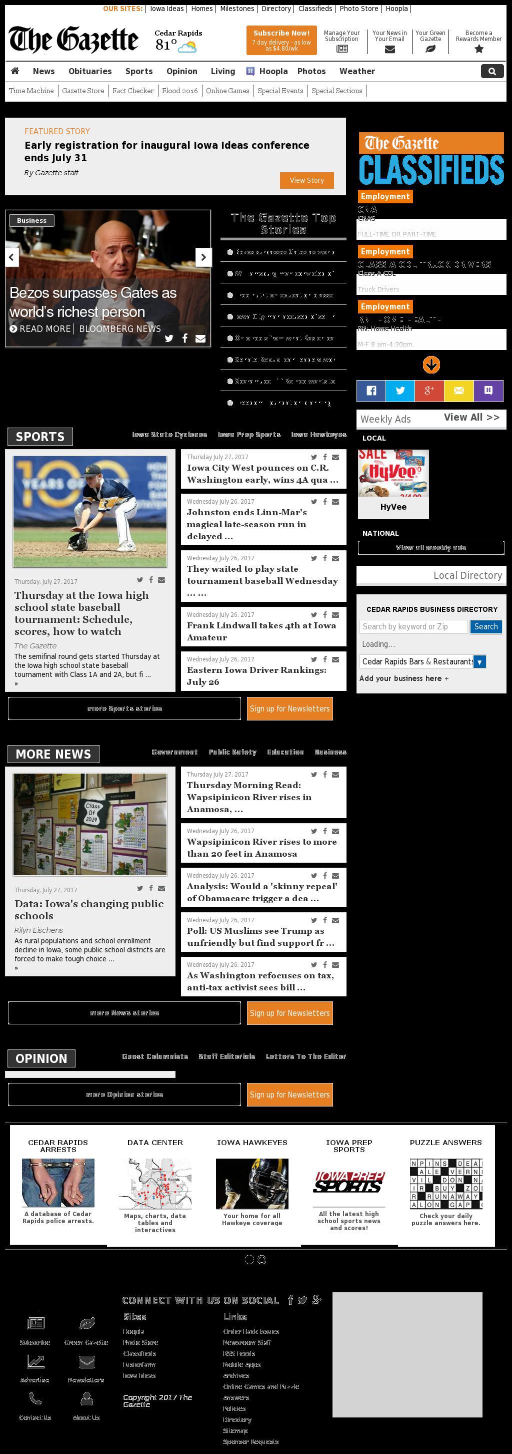 The (Cedar Rapids) Gazette at Thursday July 27, 2017, 5:07 p.m. UTC