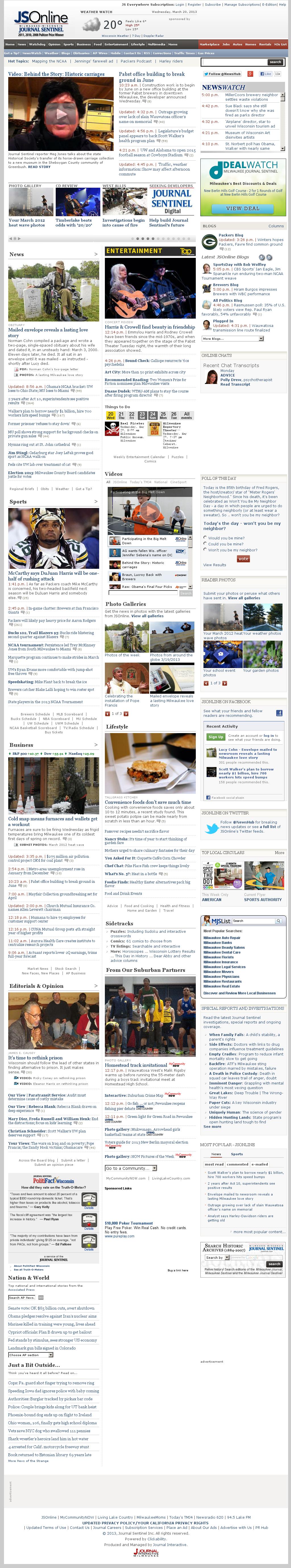 Milwaukee Journal Sentinel at Wednesday March 20, 2013, 10:14 p.m. UTC