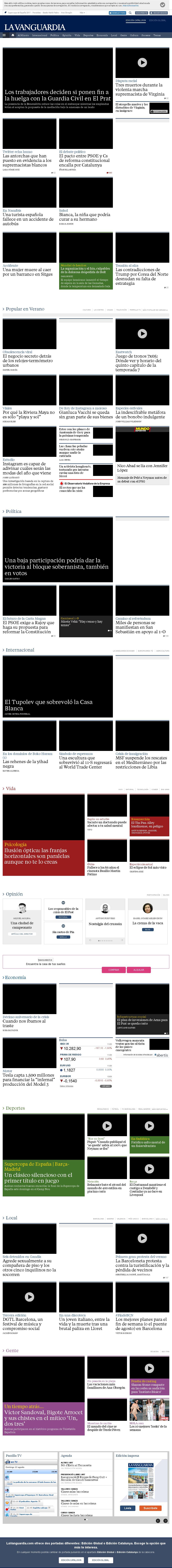 La Vanguardia at Sunday Aug. 13, 2017, 10:21 a.m. UTC