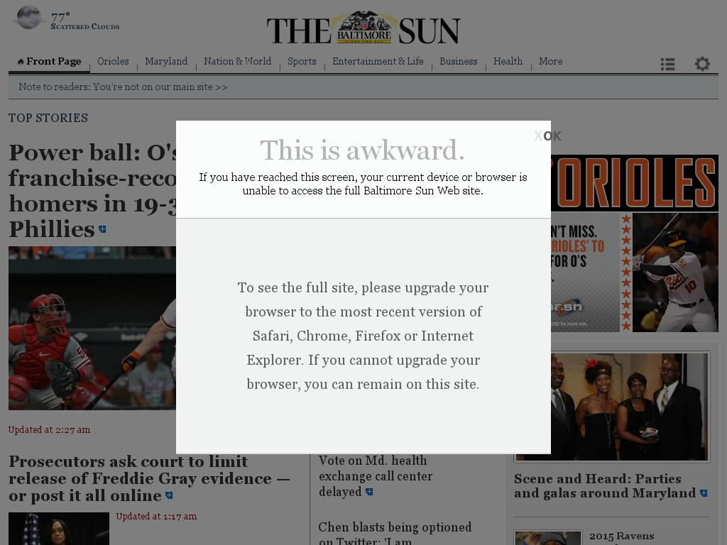 The Baltimore Sun at Wednesday June 17, 2015, 5 a.m. UTC