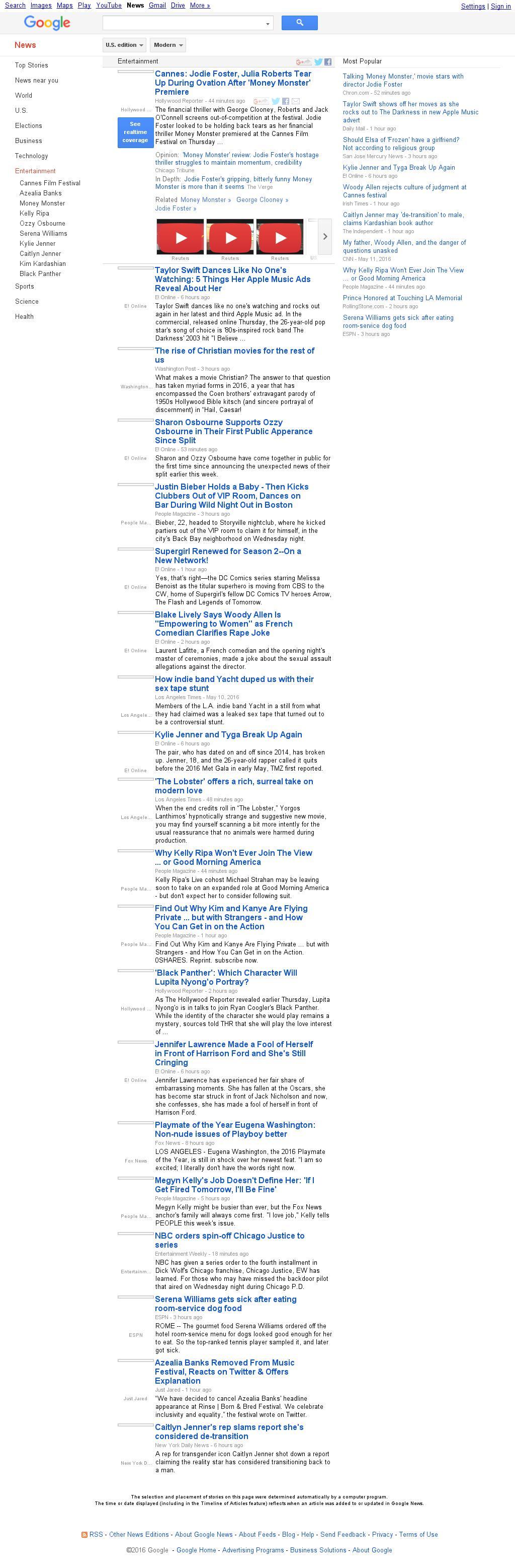 Google News: Entertainment at Thursday May 12, 2016, 10:08 p.m. UTC