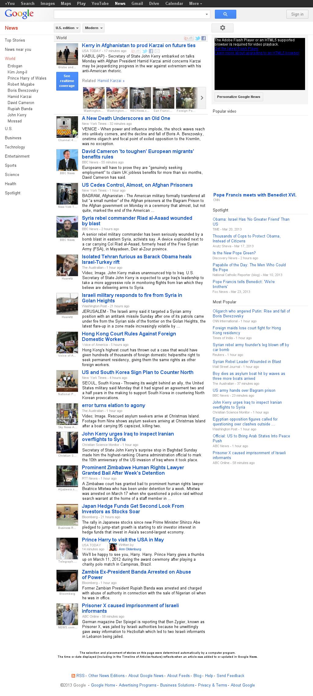 Google News: World at Monday March 25, 2013, 2:22 p.m. UTC