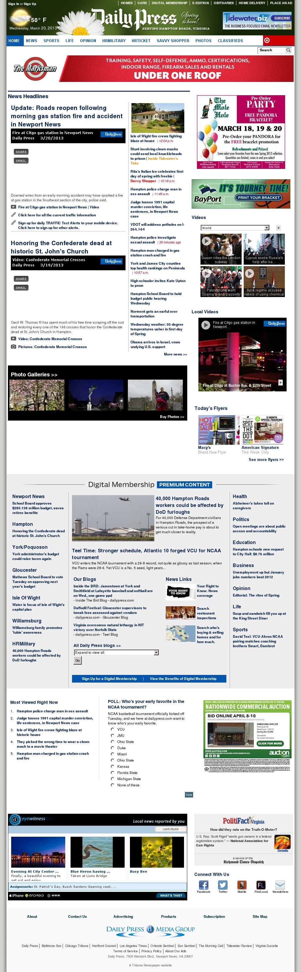 (Hampton Roads) Daily Press at Wednesday March 20, 2013, 5:05 p.m. UTC