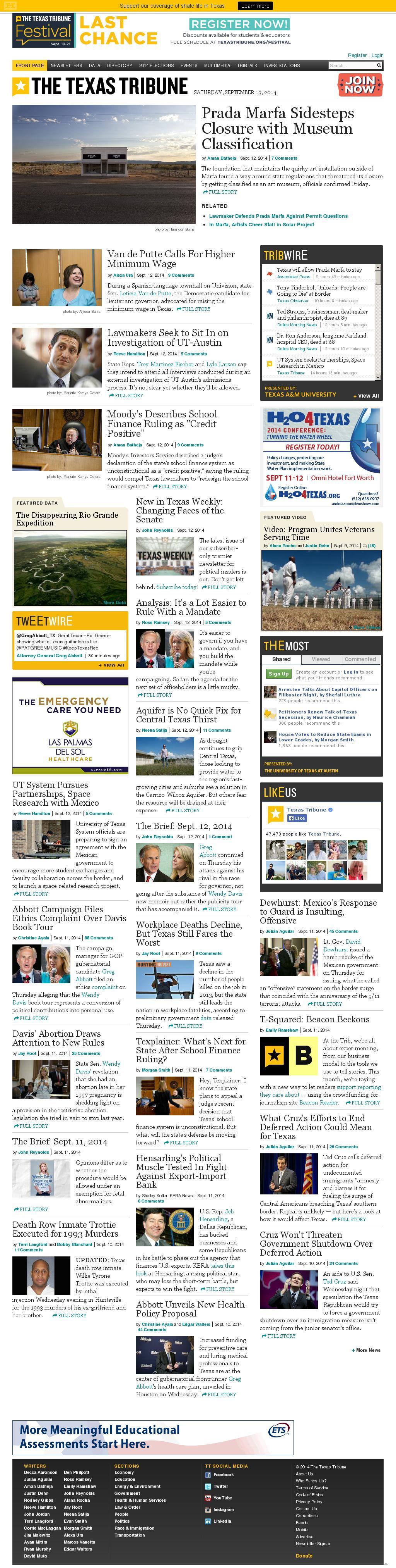 The Texas Tribune at Saturday Sept. 13, 2014, 5:18 a.m. UTC