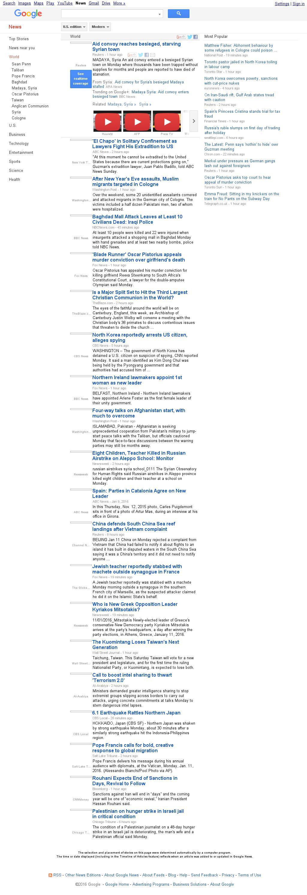 Google News: World at Monday Jan. 11, 2016, 7:09 p.m. UTC