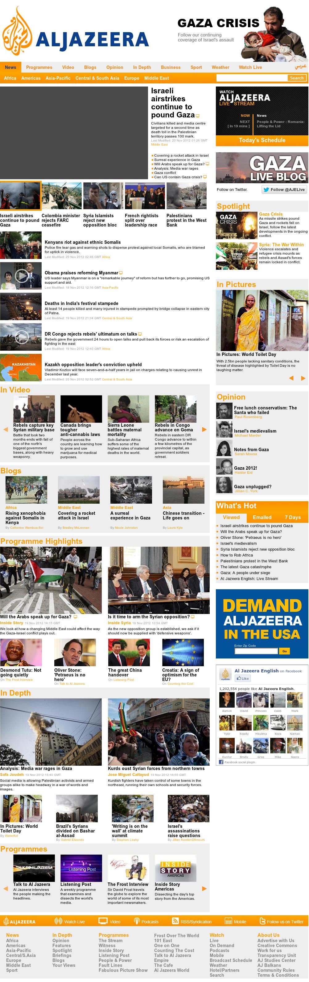 Al Jazeera (English) at Tuesday Nov. 20, 2012, 3:16 a.m. UTC
