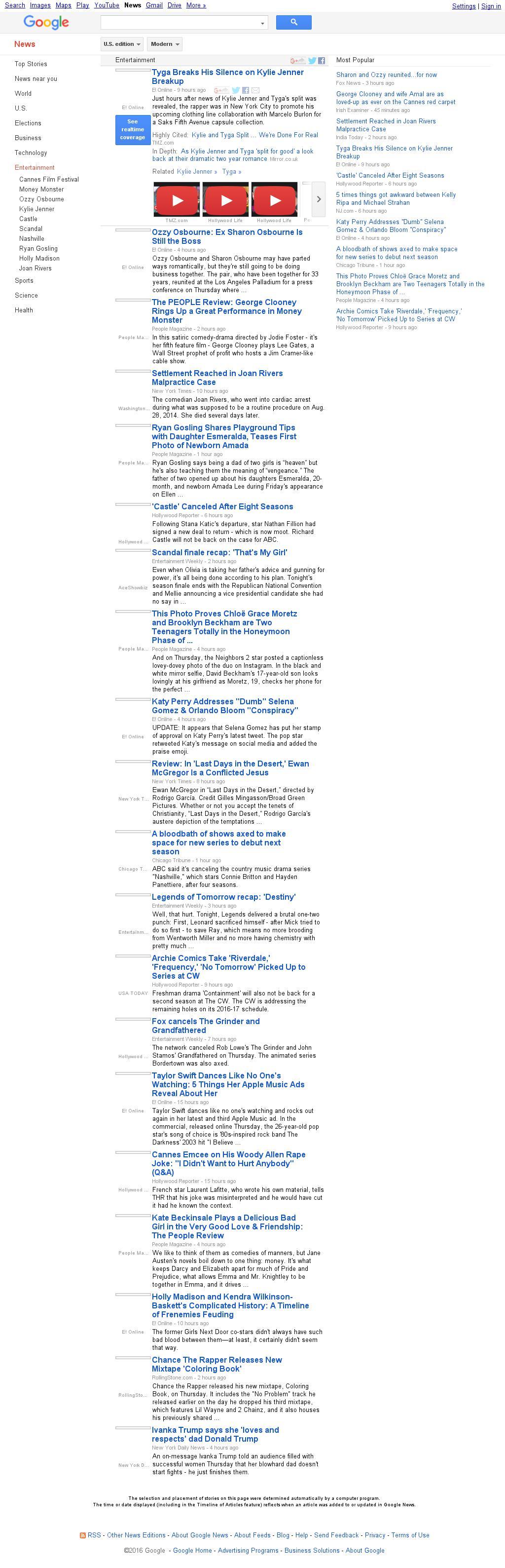 Google News: Entertainment at Friday May 13, 2016, 7:07 a.m. UTC