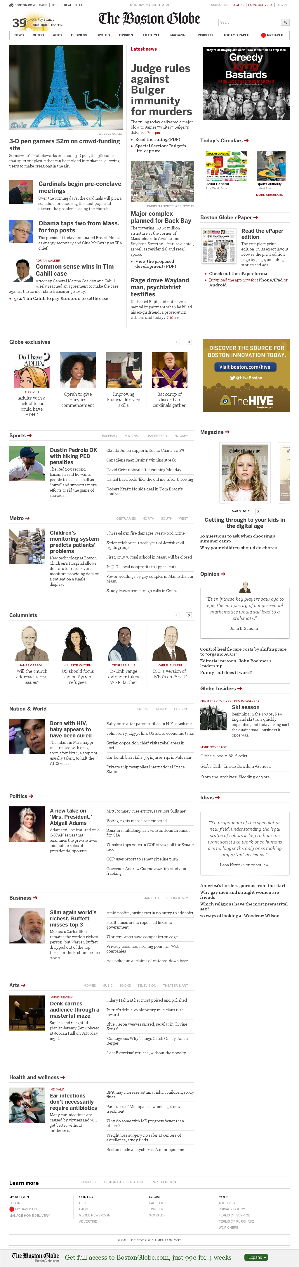 The Boston Globe at Monday March 4, 2013, 9:01 p.m. UTC