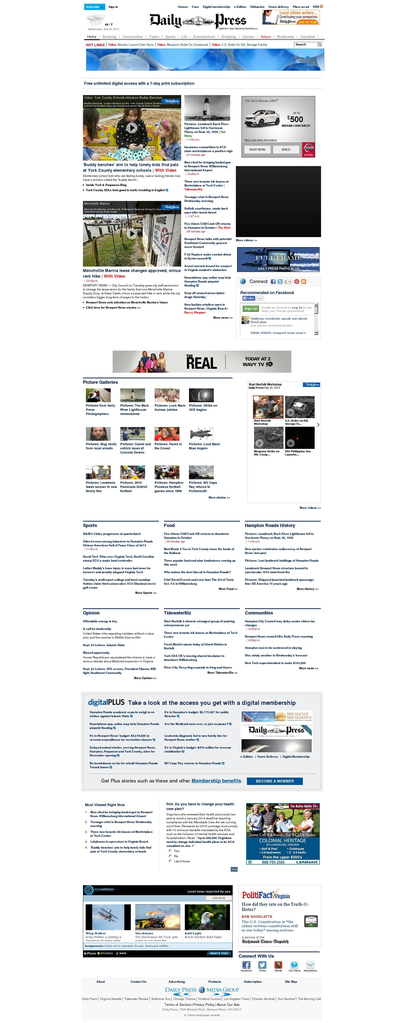 (Hampton Roads) Daily Press at Wednesday Sept. 24, 2014, 6:03 p.m. UTC