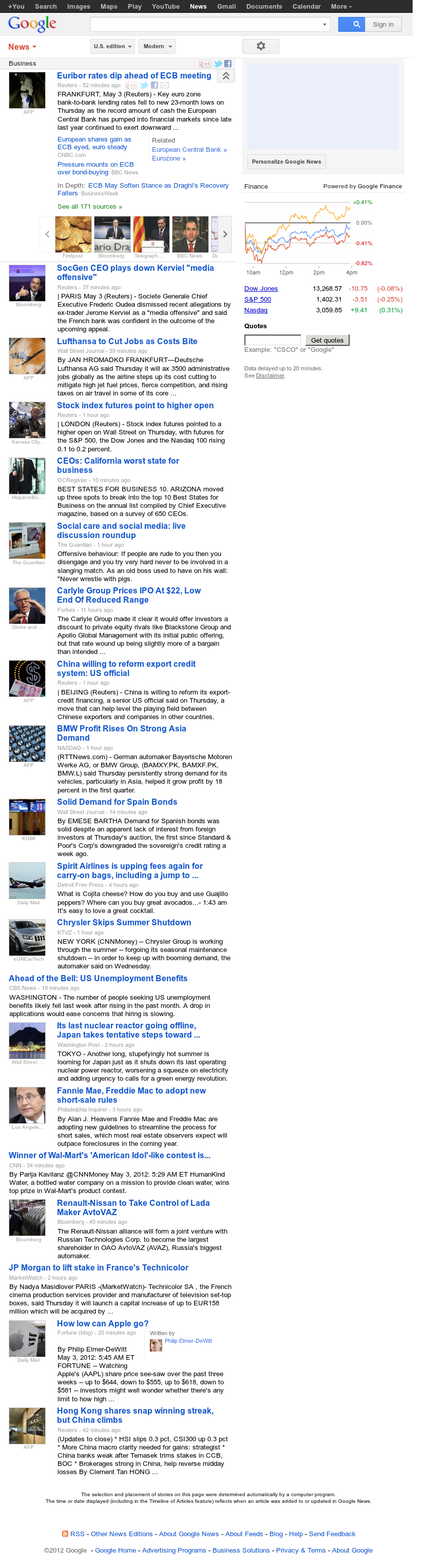 Google News: Business at Thursday May 3, 2012, 10:05 a.m. UTC