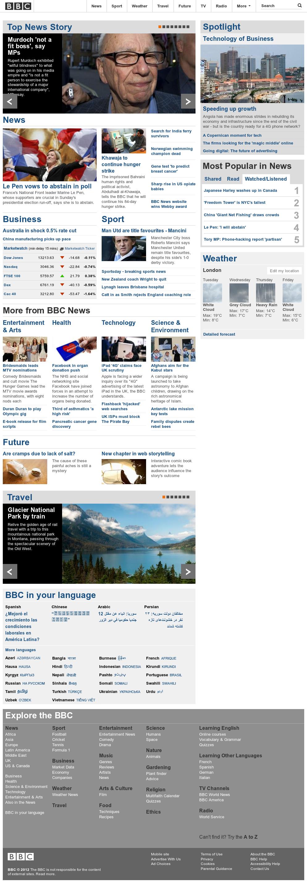 BBC at Tuesday May 1, 2012, 1:01 p.m. UTC