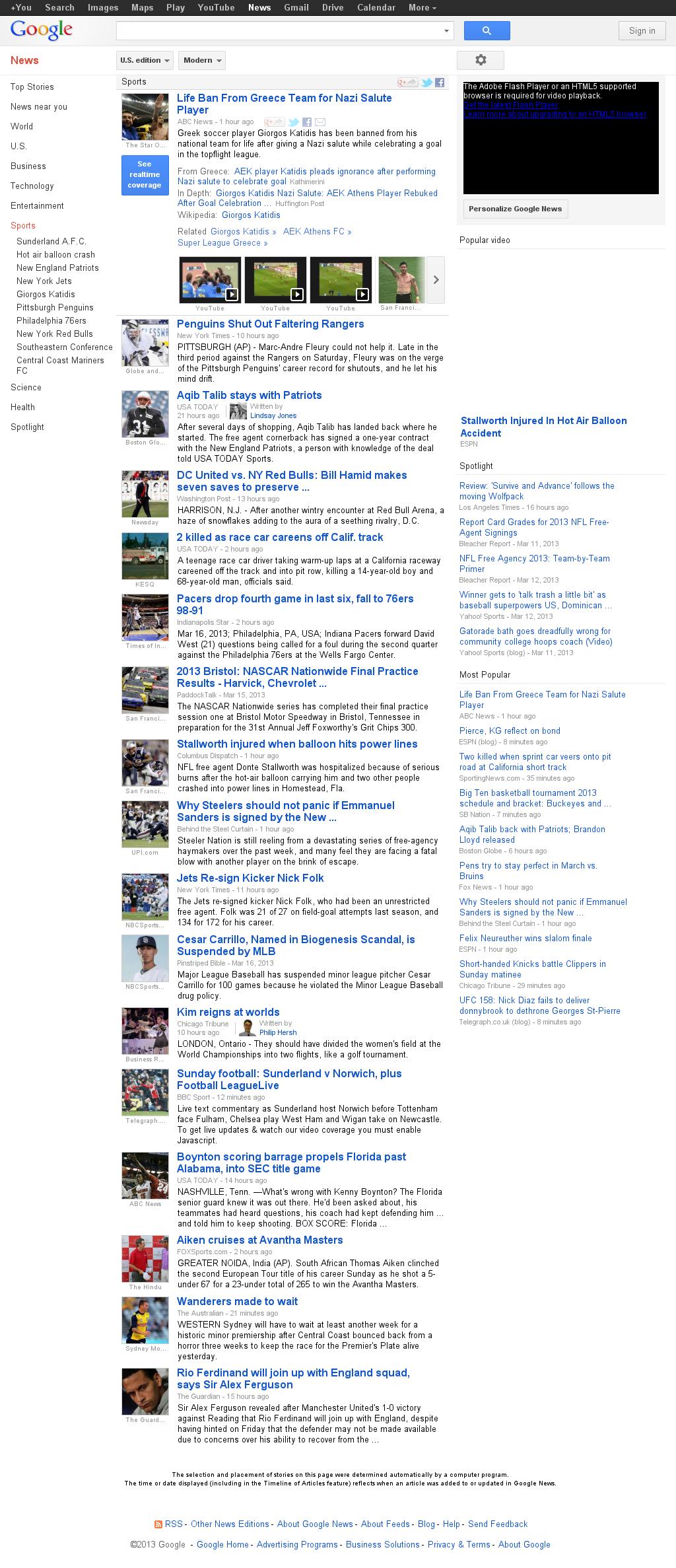 Google News: Sports at Sunday March 17, 2013, 2:11 p.m. UTC