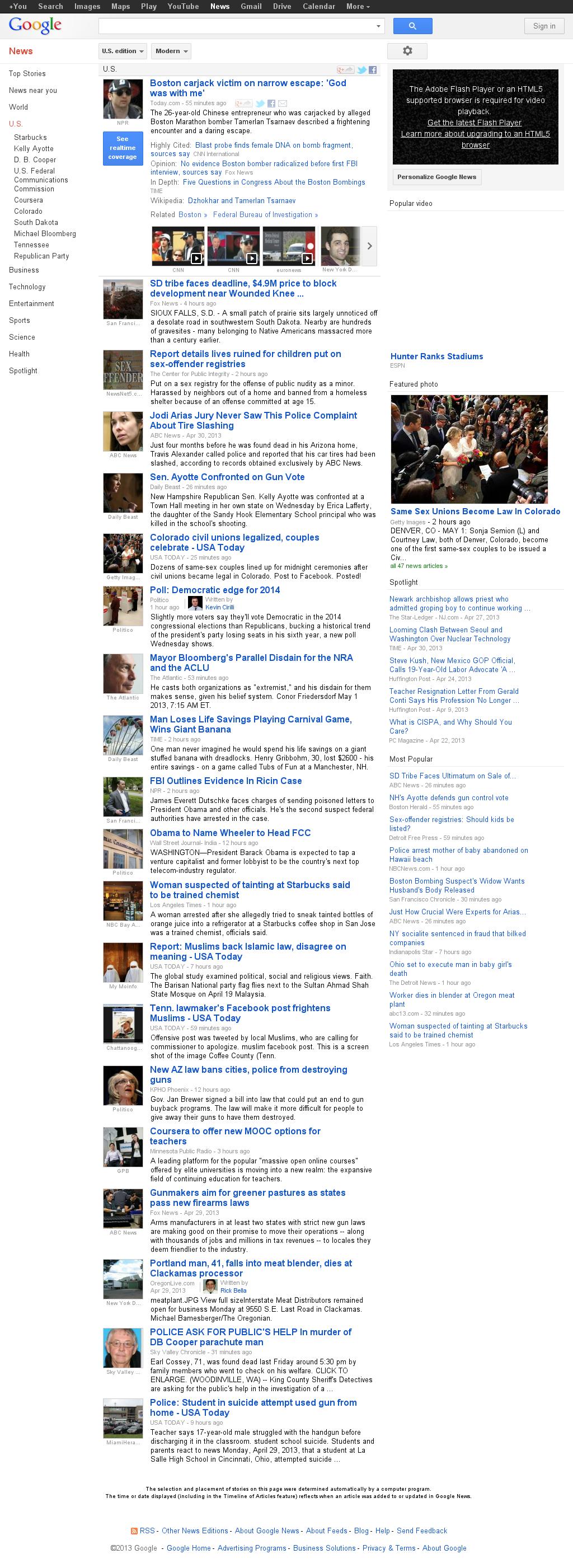 Google News: U.S. at Wednesday May 1, 2013, 12:09 p.m. UTC