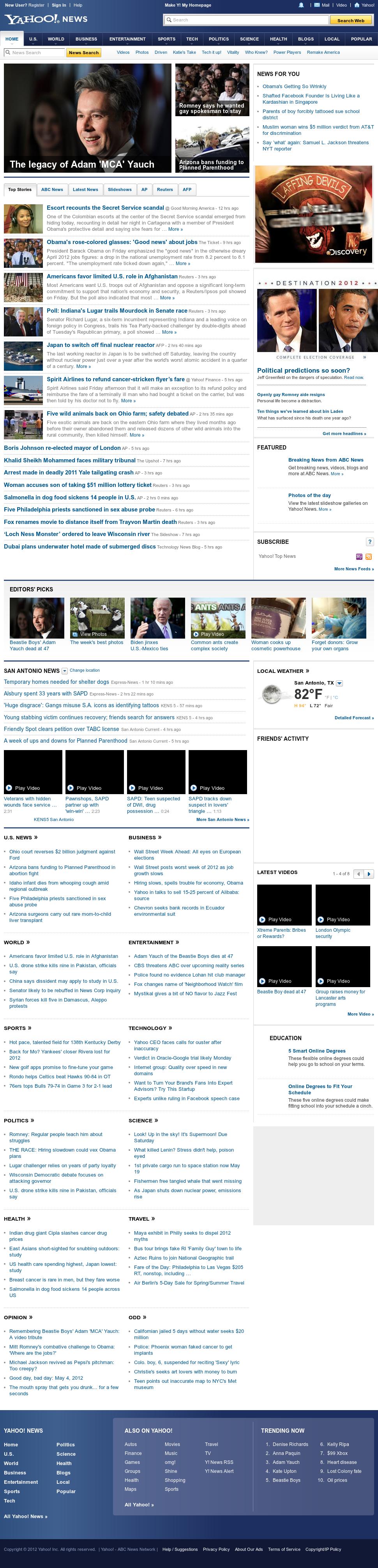 Yahoo! News at Saturday May 5, 2012, 4:15 a.m. UTC