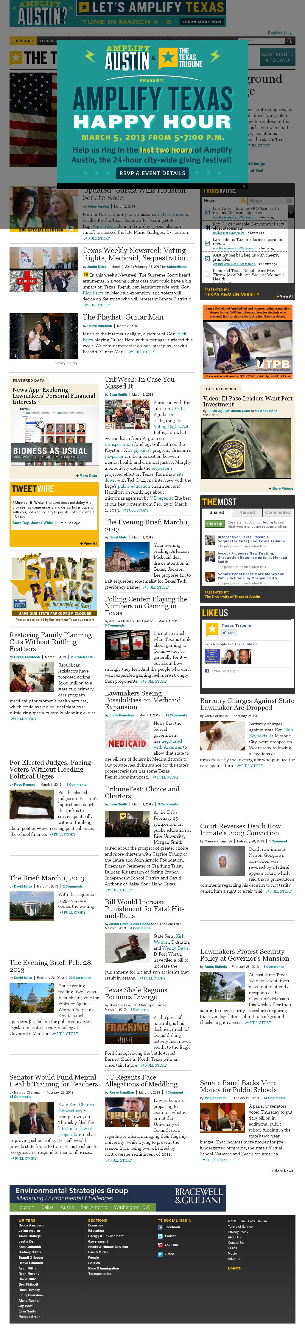 The Texas Tribune at Sunday March 3, 2013, 12:20 p.m. UTC