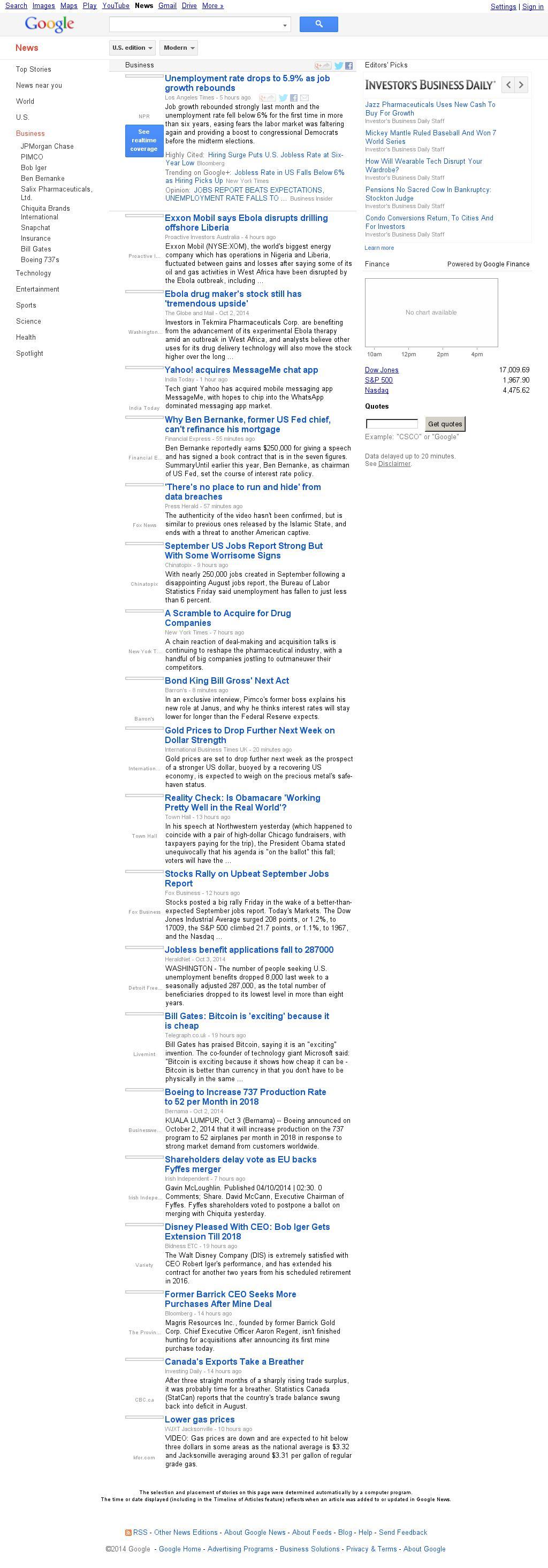 Google News: Business at Saturday Oct. 4, 2014, 9:06 a.m. UTC