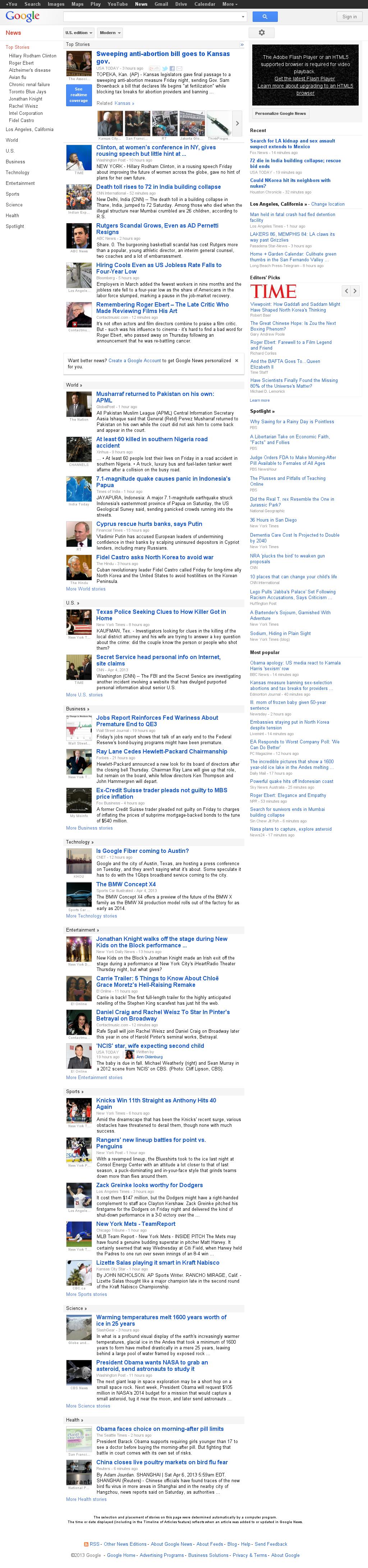 Google News at Saturday April 6, 2013, 10:07 a.m. UTC