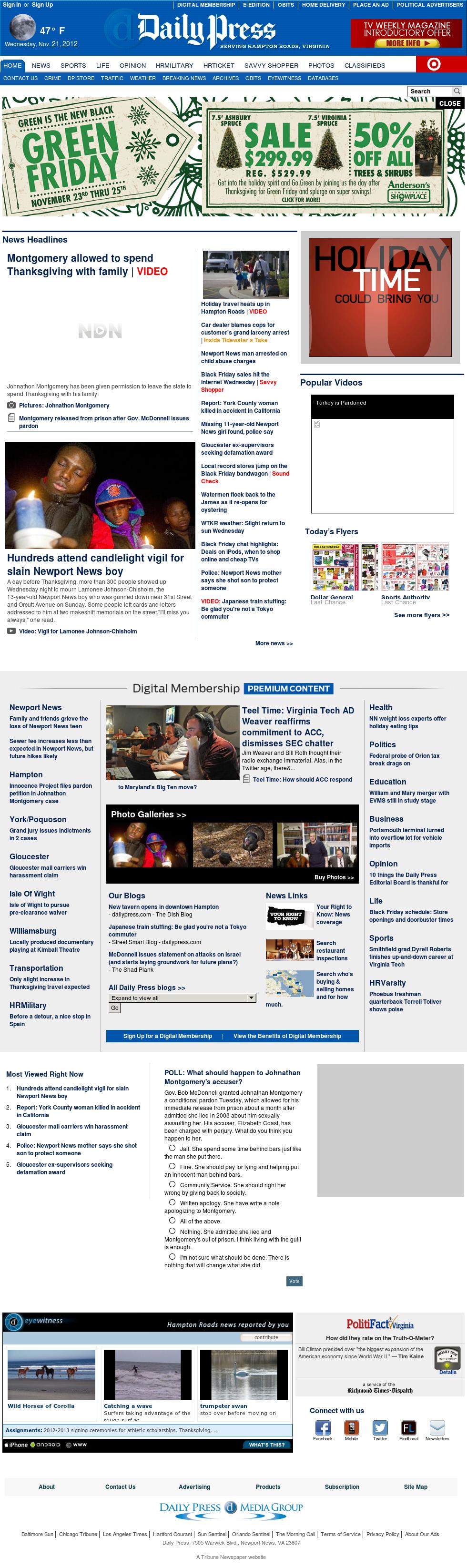 (Hampton Roads) Daily Press at Thursday Nov. 22, 2012, 5:06 a.m. UTC