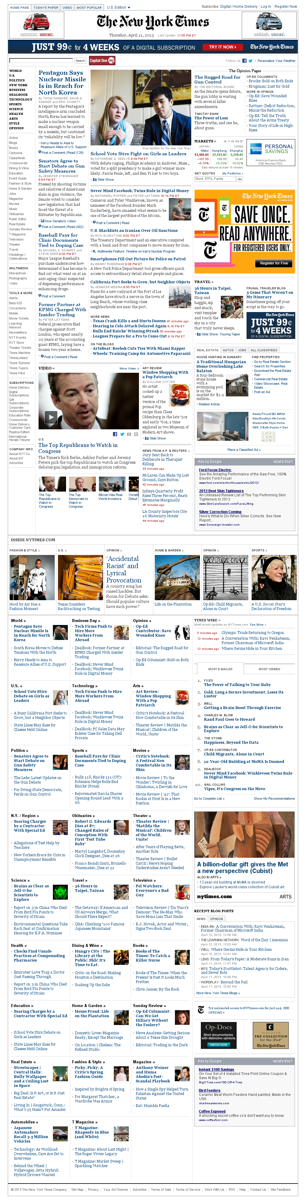 The New York Times at Friday April 12, 2013, 4:19 a.m. UTC