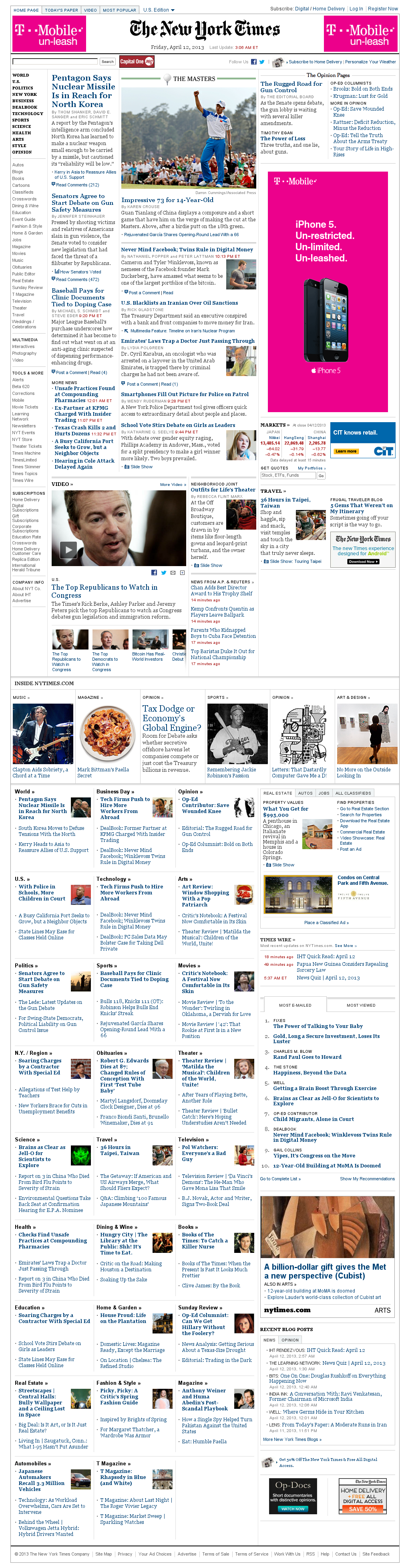 The New York Times at Friday April 12, 2013, 7:19 a.m. UTC