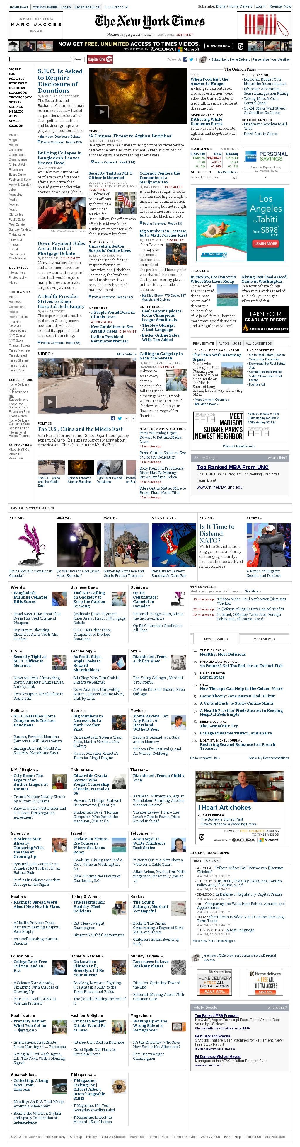 The New York Times at Wednesday April 24, 2013, 7:17 p.m. UTC