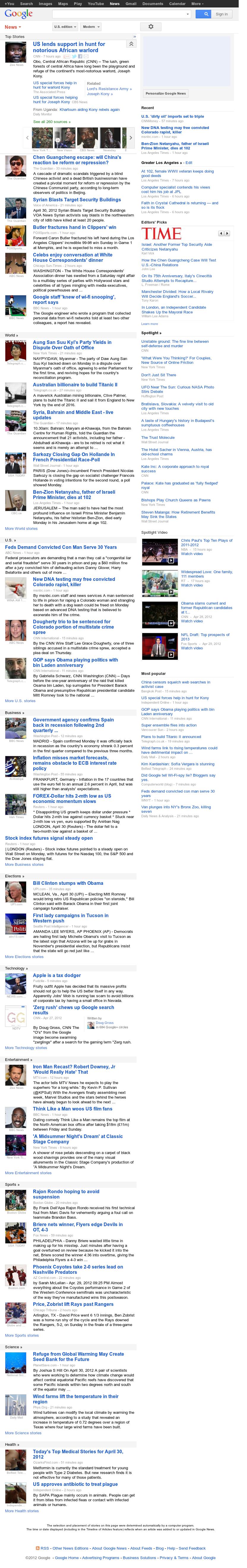 Google News at Monday April 30, 2012, 10:07 a.m. UTC